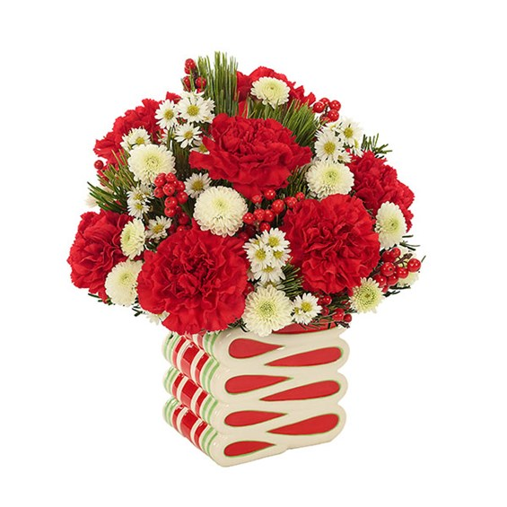 Peppermint Swirl flower bouquet for holiday gifts (BF431-11K)